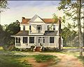 Gilmore-House - Painting by Rene Pendarvis Scanlon commissioned by Hayward Thompson and hung over the mantle until its demolition.jpg
