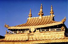 Decorated golden roof of the temple