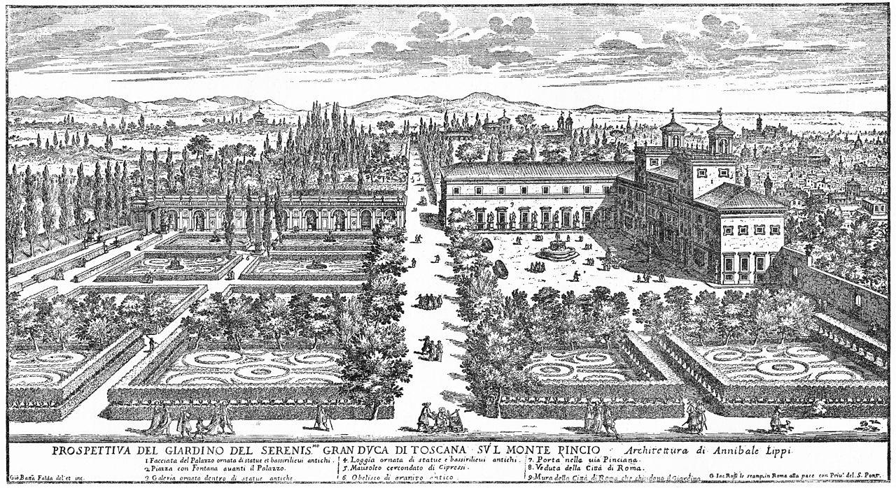 file giovanni battista falda view of villa medici at wikimedia commons. Black Bedroom Furniture Sets. Home Design Ideas