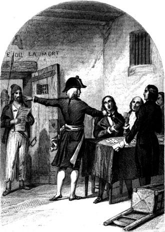 Girondins - The Girondins in the La Force Prison after their arrest, a woodcut from 1845