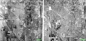 Glendale, Salt Lake City - Historical aerial photographs of the Glendale neighborhood from 1937 (left) and 1958 (right), showing the level of development from 1937 to 1958.