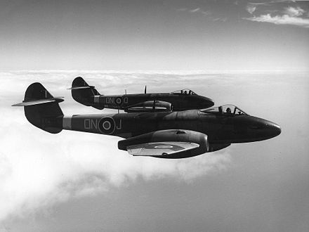 Gloster Meteor F.3s. The Gloster Meteor was the first British jet fighter and the Allies' only jet aircraft to achieve combat operations during World War II. Gloster Meteor III ExCC.jpg