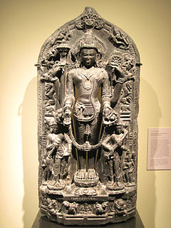 God Vishnu with Lakshmi and Saraswati