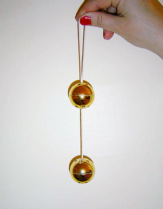 Ben Wa balls - Gold-toned Rin-no-tama balls, attached to a ribbon