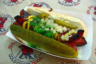Chicago-style hot dog - A char-dog with ends cut cervelat-style