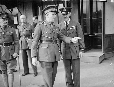 Lord Gort (gesturing, at centre) was commander of the British Expeditionary Force. Gort and Blount at Arras WWII IWM O 177.jpg