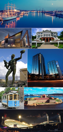 Clockwise, from top: Göta älv with Barken Viking to the left, Gunnebo House, Gothia Towers including Svenska Mässan, Elfsborg Fortress, Ullevi stadium, Gothenburg heritage tram, Poseidon at Götaplatsen, The Göteborg Opera