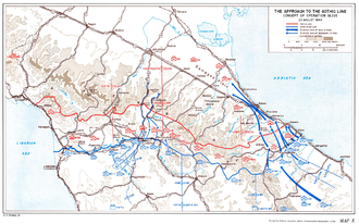 Battle of San Marino - The initial plan for Operation Olive, the attempt to break the Gothic Line (red); the planned offensive is shown in blue, along the eastern coast. The arrows converge north of San Marino.