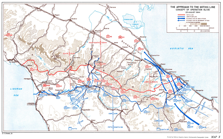 The Gothic Line, August 1944 and the concept of Operation Olive. The dark blue arrows represent major Allied attacks. Gothic Line - Concept of OperationOlive 1944.png