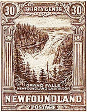 Churchill Falls Generating Station - In 1931, the Dominion of Newfoundland issued a 30-cent stamp depicting the falls.
