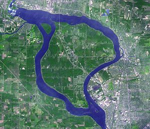 Grand Island, New York - September 2001 satellite image of Grand Island. Niagara Falls is visible at the top left corner.