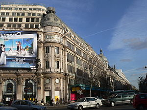 Boulevards of Paris - Looking eastwards down Boulevard Haussmann and Printemps department store