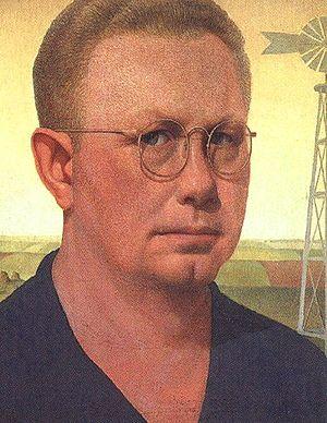 American Gothic - Grant Wood, Self-portrait, 1932, Figge Art Museum