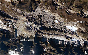 Astronaut photo of the Grasberg Mine in Papua ...