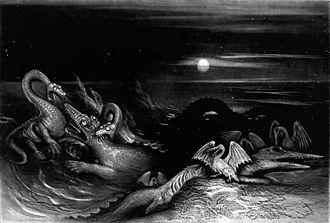 Plesiosauria - Hawkins' demonic plesiosaurs battling other sea-monsters in eternal darkness