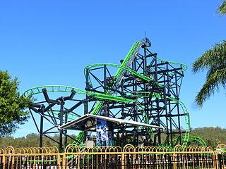 Green Lantern Coaster roller coaster at Warner Bros. Movie World