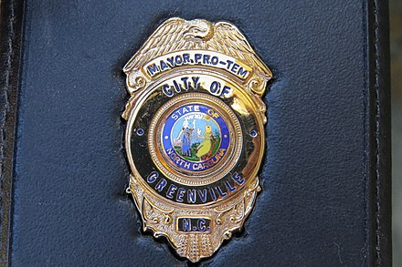 Police Badge, Greenville, North Carolina, presented to the Mayor, William J. Hadden Greenville, North Carolina Police Badge.jpg