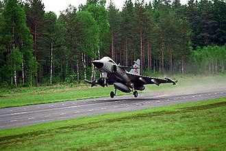 Saab JAS 39 Gripen - Gripen taking off from a road runway, that were part of the Bas 90 system.
