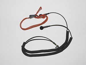 English: Ground bracelet or grounding strap, s...
