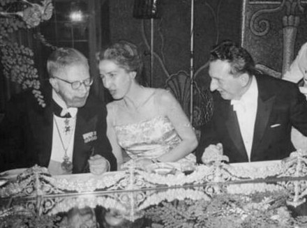 Prokhorov with King Gustaf VI Adolf and wife of Townes at the Nobel Prize banquet in 1964 Gustaf VI Adolf and Alexander Prokhorov 1964.jpg