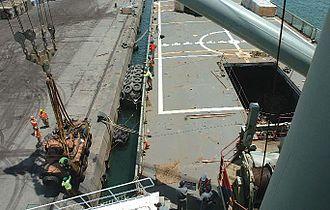 HMAS Tobruk (L 50) - Tobruk unloading an ASLAV during her deployment to the Middle East in 2005