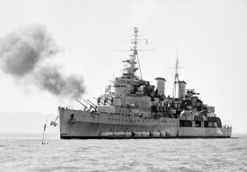 HMS Belfast bombarding Korea