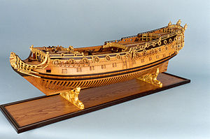 Wooden ship model - HMS Sussex on display at the US Naval Academy Museum