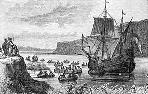 Halve Maen - 19th-century illustration Halve Maen in the Hudson River in 1609