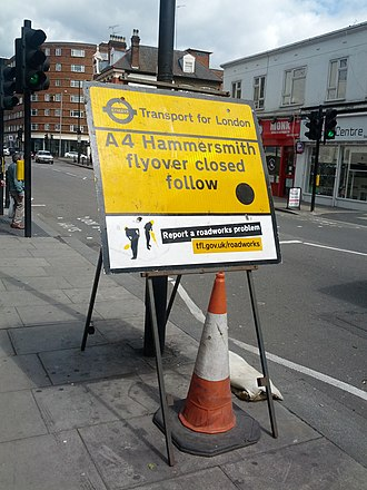 Hammersmith flyover - Sign showing flyover closure