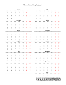 calendars for every year