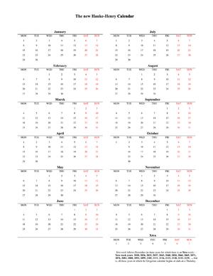 Hanke–Henry Permanent Calendar - The latest Hanke-Henry calendar