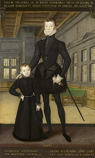 Childhood in early modern Scotland - Henry Stuart, Lord Darnley, age 17, and his brother Lord Charles Stuart (later 5th Earl of Lennox), age 6, in a painting attributed to Hans Eworth (1563)