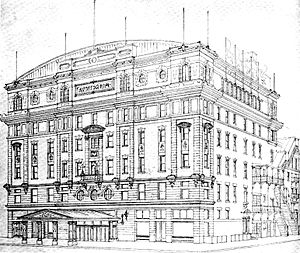The Harlem Alhambra - Drawing published in 1904 of the planned Harlem Alhambra, which was then called the Auditorium.