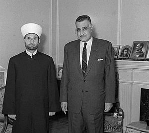 Hassan Khaled - Khaled being received by Egyptian President Gamal Abdel Nasser in Cairo for the Muslim Scholars Conference, October 1968