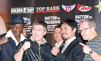 Boxing career of Manny Pacquiao - Pacquiao and Ricky Hatton with their trainers at the Trafford Centre
