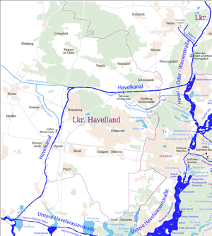 Havel Canal - The Havel Canal in the context of the waterways west of Berlin
