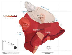 Lava Flow Hazard Zones - The Island of Hawai{{okina}}i was mapped into 9 Zones meant to portray the future long-term hazard due to lava flow activityUSGS.