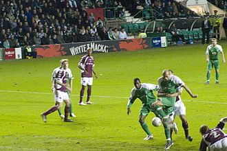 Hibernian F.C. - Rob Jones scores a goal for Hibs against Hearts in 2006.