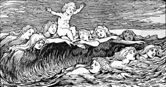 Nine Mothers of Heimdallr - Heimdal and his Nine Mothers (1908) by W. G. Collingwood, in which Heimdallr's Nine Mothers are depicted as waves