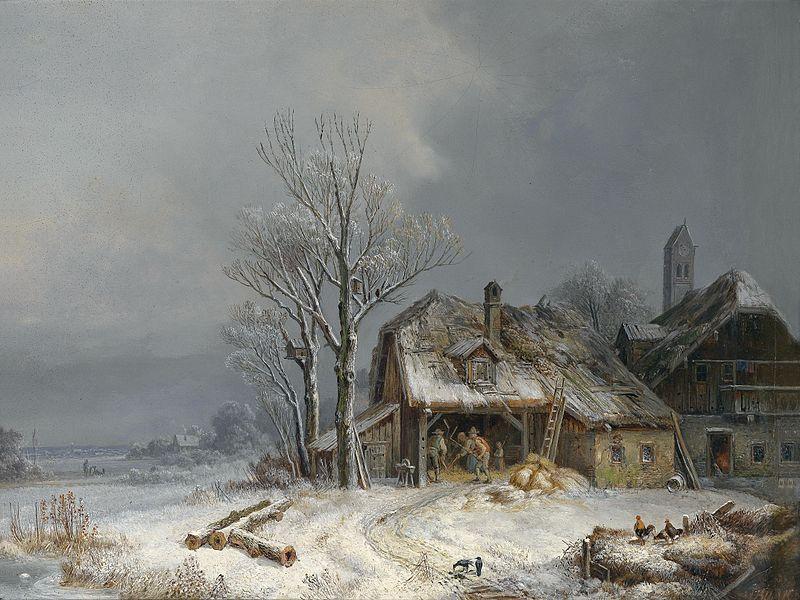 File:Heinrich Bürkel Winterliches Dorf c1865.jpg