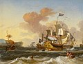 Hendrik Rietschoof - A Dutch Flagship and other Vessels off a Rocky Coast.jpg