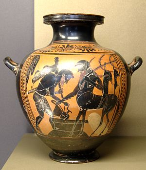 Pholus (mythology) - Heracles and Pholus, black-figured hydria, 520–510 BC, Louvre (MNE 940)