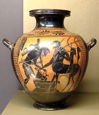Pholus (mythology) - Heracles and Pholus, black-figured hydria, 520–510 BC, Louvre (MNE 940)