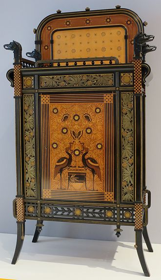 Herter Brothers - High Museum of Art Cabinet, 1875, ebonized cherry, veneer inlays, and metallic foil decorative paper.