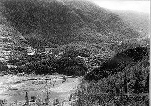 Hetch Hetchy - The narrow defile at the lower end of Hetch Hetchy Valley where San Francisco planned to dam the Tuolumne River, seen in 1914 before construction began