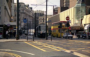 High Street tram stop - High Street tram stop in 1993, visible on the left