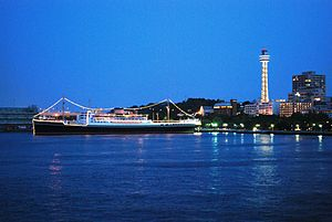 Yamashita Park - Yamashita Park, Hikawa Maru and Yokohama Marine Tower. Night view as seen from Osanbashi Pier