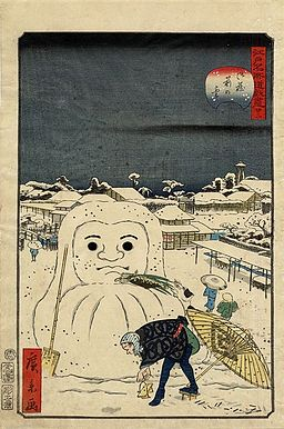 Hirokage - Comic Incidents at Famous Places in Edo (Edo meisho dôke zukushi), No. 22, dog stealing a workman's meal from a snow Daruma