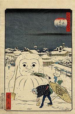Hirokage - Comic Incidents at Famous Places in Edo (Edo meisho dôke zukushi), No. 22, dog stealing a workman's meal from a snow Daruma