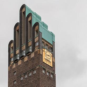 """Darmstadt - Landmark of Darmstadt: """"Hochzeitsturm"""" (""""Wedding Tower""""), built 1908 in Jugendstil architecture."""